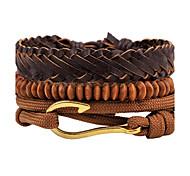 Men's Leather Bracelet Strand Bracelet Wrap Bracelet Handmade Punk Adjustable Personalized DIY Leather Wood Alloy Round Jewelry For Daily