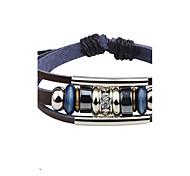 Men's Leather Bracelet Multi-stone Basic Natural Geometric Costume Jewelry Fashion Vintage Punk Personalized Hip-Hop Handmade Luxury