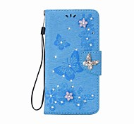 Случай для iphone 7 7 плюс кошелек rhinestone тиснением бабочка pu кожаный случай для iphone 6 6 p6s 6s плюс 5 5s se