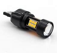 cheap -2x Amber / Yellow T25 3157 Canbus Error-Free 21SMD 3030 LED Backup Reserve Bulb