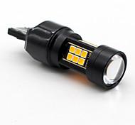 Недорогие -2x янтарь / желтый t25 3157 canbus без ошибок 21smd 3030 led резервная запасная лампа