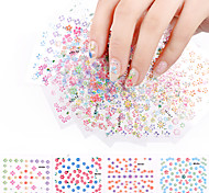 20Sheets Beauty Flower Design Nail Stickers Colorful Mixed Decals Manicure Tips 3D Nail Art Decorations Charm Tools
