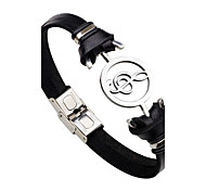cheap -Men's Women's Stainless Steel Leather Leather Bracelet - Personalized Fashion Rock Music Notes Black Brown Bracelet For Gift Stage Club