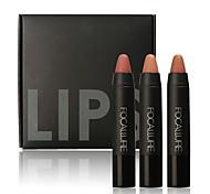 cheap -3Pcs Professional Makeup Lips Crayon Pencils Long Lasting Pigment Dark Color Nude Lot Matte Lipstick Set Makeup