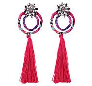 cheap -Fashion Women Rhinestone  Fabric Tassel  Drop Earrings