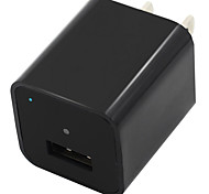 1080P 8 GB Internal Memory Mini Camera USB Wall Charger Adapter Loop Recording