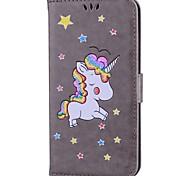 Недорогие -Кейс для Назначение Apple iPhone 7 Plus iPhone 7 Бумажник для карт со стендом Флип С узором Чехол единорогом Сияние и блеск Твердый Кожа