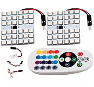 2pcs RGB 5050 36 SMD LED Dome Light T10 Festoon AdapterRemote Control Reading Lamp DC12V