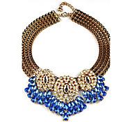 L.WEST Women's Statement Necklaces Imitation Diamond Crystal Brief Paragraph Clavicle Necklace