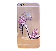 Недорогие -цветы каблуки рельефный рисунок ТПУ тонкий прозрачный алмаз вставить задняя крышка чехол для iPhone 6 / 6с
