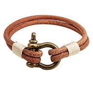Men's Women's Leather Bracelet Vintage Personalized Leather Alloy Round Button Jewelry For Casual Going out