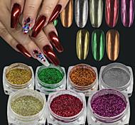 7colors / set 0.15g / bottle christmas nail art brilho efeito espelho de espelho