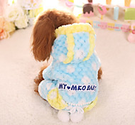 Dog Jumpsuit Dog Clothes Cotton Winter Spring/Fall Casual/Daily Geometic Yellow Blue Pink For Pets