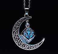 cheap -Women's Luminous Others Moon Pendant Necklace  -  Luminous Fluorescent Illuminated Light Blue Light Green Necklace For Halloween Club