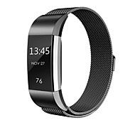cheap -Fitbit Charge 2 Bands Metal Swees Milanese Loop Stainless Steel Replacement Accessories Magnetic Metal -black