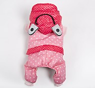 Dog Costume Coat Hoodie Jumpsuit Dog Clothes Casual/Daily Keep Warm Sports Polka Dots Orange Yellow Pink Costume For Pets