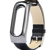 Leather Wrist Blet Strap Wristband Bracelet Accessories With Metal Frame For Xiaomi Mi Band 2 Smart Watch Miband (Leathe black)
