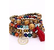 preiswerte -Herrn / Damen Strang-Armbänder / Wickelarmbänder - Simple Style, Hip-Hop Armbänder Kaffee / Rot / Blau Für Geschenk / Party