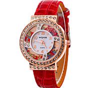 Mujer Reloj de cristal flotante Reloj de Moda Reloj de Pulsera Cuarzo Piel Banda Casual Cool Negro Blanco Rojo Morado