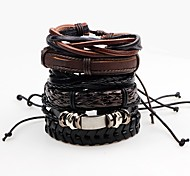 cheap -Men's Leather Bracelet Wrap Bracelet Handmade Rock Leather Line Irregular Jewelry Stage Club Costume Jewelry Black