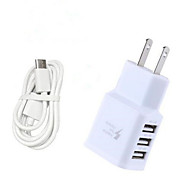 cheap -Home Charger Portable Charger Phone USB Charger US Plug EU Plug Fast Charge Multi Ports 3 USB Ports 3.1A AC 100V-240V For Cellphone