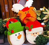 3PC Stereo Santa Claus Christmas Elk Snowman Pattern Gift Box Red Nonwovens For Home Practical Candy Bag