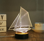 cheap -1 Set, Popular Home Acrylic 3D Night Light LED Table Lamp USB Mood Lamp Gifts, Sailing