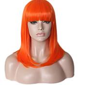 Недорогие -жен. Парики из искусственных волос Без шапочки-основы Средний Длиный Прямые Оранжевый Природные волосы Парик в афро-американском стиле