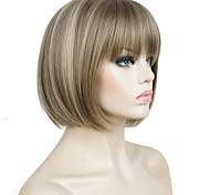 cheap -Synthetic Wig Straight Bob Haircut Highlighted/Balayage Hair Brown Women's Capless Celebrity Wig Natural Wigs Cosplay Wig Short Synthetic