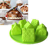cheap -Christmas 6 House Shape Silicone Mold 3D Fandont Chocolate Mould Bakeware Fondant Cake Tools