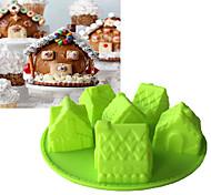 рождество 6 дом форма силиконовая форма шоколадная форма для помады торт инструменты случайный цвет