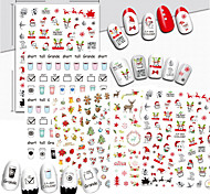 1 Nail Art Sticker  Pattern Accessories Art Deco/Retro 3D Nail Stickers Cartoon 3-D Christmas Sticker DIY Supplies Makeup Cosmetic Nail