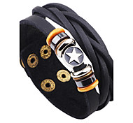 cheap -Men's Leather Star Leather Bracelet - Vintage Rock Button Black Coffee Bracelet For Casual Going out