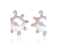 cheap -Women's Rhinestone Imitation Pearl Rhinestone Stud Earrings - Sexy Cute Style Fashion Gold Silver Flower Earrings For Daily Casual Office