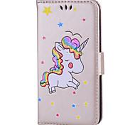 baratos -Capinha Para Apple iPhone 8 iPhone 8 Plus Porta-Cartão Flip Estampada Capa Proteção Completa Unicórnio Rígida PU Leather para iPhone X