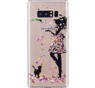 Недорогие -Кейс для Назначение SSamsung Galaxy Ультратонкий Прозрачный С узором Задняя крышка Бабочка Соблазнительная девушка Мягкий TPU для Note 8