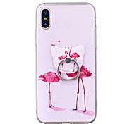 cheap -Case For Apple iPhone X iPhone 8 Ring Holder Pattern Back Cover Flamingo Soft TPU for iPhone X iPhone 8 Plus iPhone 8 iPhone 7 Plus
