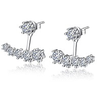 cheap -Women's Front Back Earrings Cubic Zirconia Luxury Bling Bling Silver Plated Geometric Jewelry For Ceremony Valentine