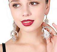 Mujer Pendientes colgantes Pendients de aro Cristal Personalizado De Gran Tamaño Brillante Legierung Luna Sol Joyas Para Fiesta Festival
