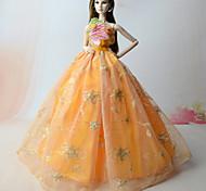 Недорогие -Платья Платья Для Кукла Барби Оранжевый Сатин / тюль Кружево Платье Для Девичий игрушки куклы