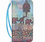 Case For Apple Ipod Touch5 / 6 Case Cover Card Holder Wallet with Stand Flip Pattern Full Body Case Gray Elephant Hard PU Leather