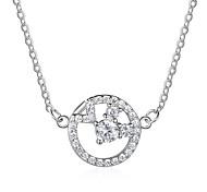 Mujer Collares con colgantes Diamante Forma de Círculo Plata de ley Moda Joyas Para Diario