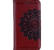 baratos -Capinha Para Apple iPhone X iPhone 8 Porta-Cartão Carteira Flip Estampada Com Relevo Capa Proteção Completa Mandala Flor Rígida PU Leather