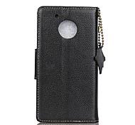 Недорогие -Кейс для Назначение G5 Plus E4 Plus Бумажник для карт Кошелек Флип Чехол Сплошной цвет Твердый Настоящая кожа для Мото G5 Plus Moto G5