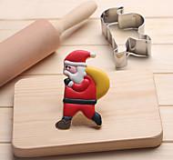 baratos -Ferramentas de Cookie Natal Ternos de Papai Noel Desenhos Animados 3D para Sandwich para Candy para biscoito Biscoito Pão Aço Inoxidável