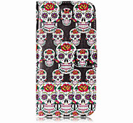 For Case Cover Card Holder Wallet with Stand Flip Pattern Full Body Case Skull Hard PU Leather for Apple iPhone X iPhone 8 Plus iPhone 8