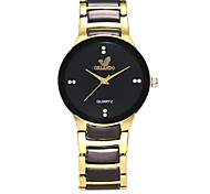 Men's Women's Fashion Watch Simulated Diamond Watch Chinese Quartz Alloy Band Casual Black