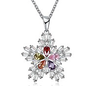 Women's Pendant Necklaces Chain Necklaces Cubic Zirconia Flower Geometric Zircon Copper Fashion Personalized Jewelry For Gift Christmas