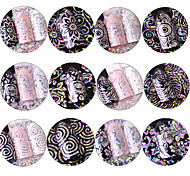12 Nail Art Sticker  Glitter Pattern Accessories Sparkle Grooming Art Deco/Retro 3D Nail Stickers Cartoon 3-D Sticker Flash DIY Supplies