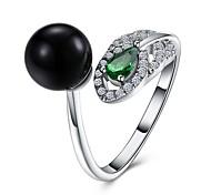 Муж. Классические кольца Цирконий Искусственный жемчуг Мода Открытые Циркон Серебрянное покрытие Круглый Бижутерия Назначение Для